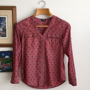Express Polka Dot Red Blouse Size M